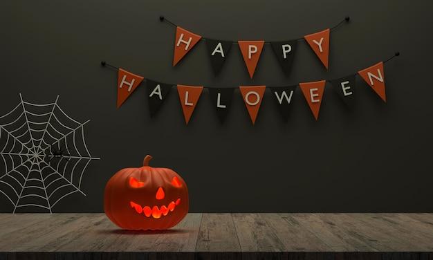 3d halloween-pompoen op de houten vloer en er is een vlagachtergrond