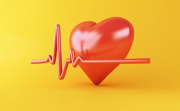 3d-hart met hartslag puls