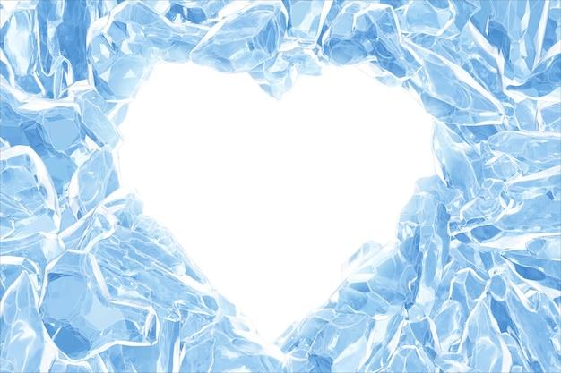 3d, hartvorm gebroken blauwe kristallen ijsmuur met gat