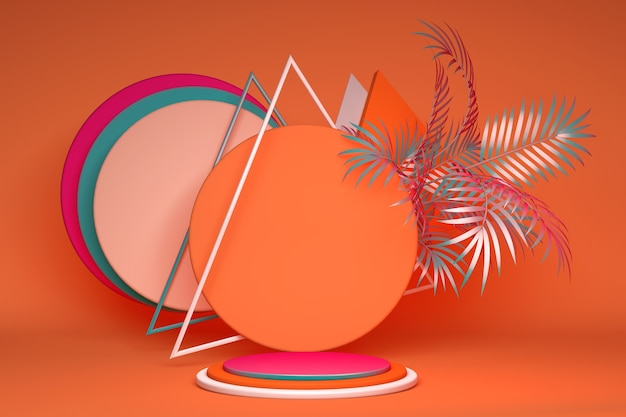 3d helder roze en oranje podium staan op geometrische achtergrond met tropische abstracte palmbladeren voor reclame showcase voor cosmetische producten en goederen schoenen tassen horloges
