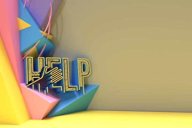 3d help kalligrafische met menselijke hand abstract 3d render afbeelding ontwerp.