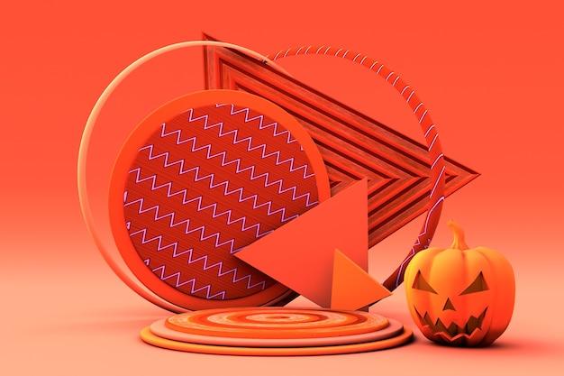 3d herfstpodium met kleurrijke herfstbladeren en pompoenhalloween concept