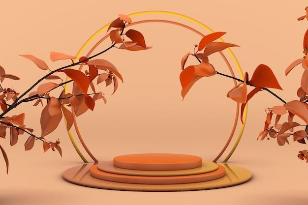 3d herfstscène podium met lege cilinderstandaard voor promotie productweergave oranje droge plant