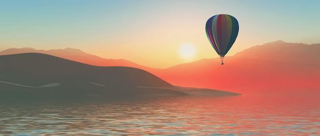 3d hete luchtballon bij zonsondergang