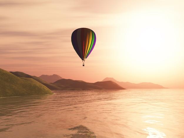3d hete luchtballon tegen zonsonderganglandschap
