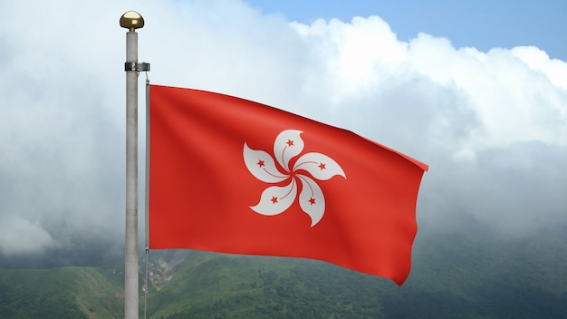 3d, hongkong-vlag die op wind bij berg golven. hong kong banner waait gladde zijde. doek stof textuur vlag achtergrond. gebruik het voor het concept van nationale dag en landgelegenheden.