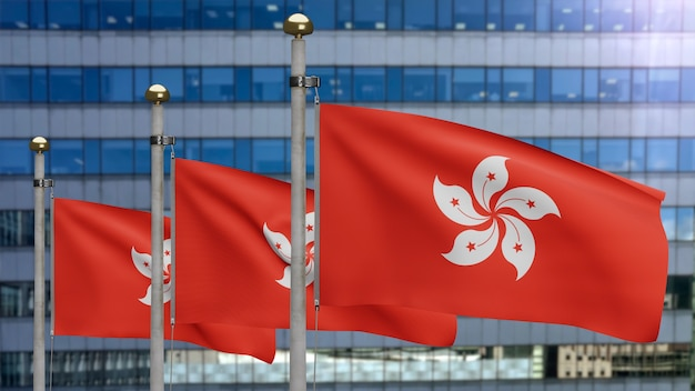 3d, hongkong vlag zwaaien op wind met moderne wolkenkrabber stad. hong kong banner waait, zachte en gladde zijde. doek stof textuur vlag achtergrond. nationale dag en land gelegenheden concept.