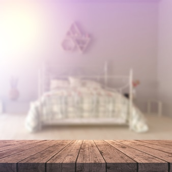 3d houten lijst die uit aan een defocussed slaapkamerbinnenland kijkt