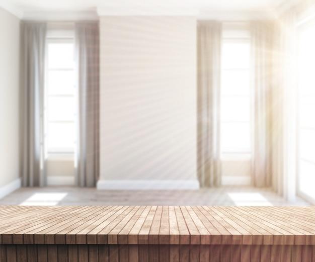 3d houten lijst die uit aan een zonnige lege ruimte kijkt
