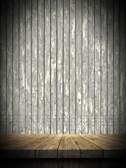 3d houten lijst tegen een grunge houten muur