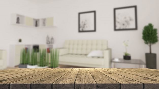 3d houten tafel kijkt uit naar een defocussed moderne woonkamer