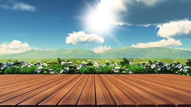 3d houten tafel met madeliefjes, gras en heuvels