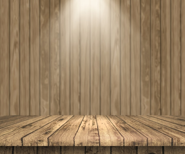 3d houten tafel uitkijken
