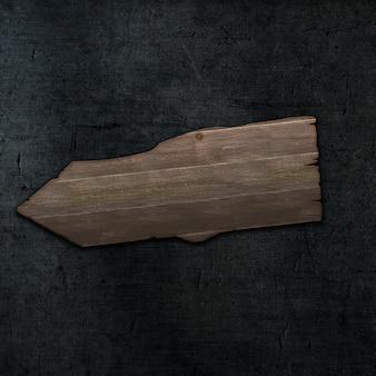 3d houten teken van de grungestijl op een donkere concrete textuurachtergrond