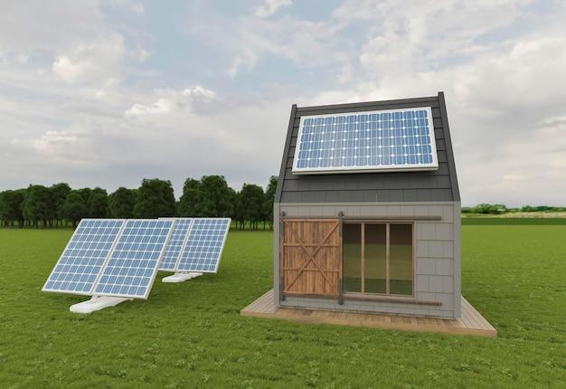 3d huis met zonnepanelen