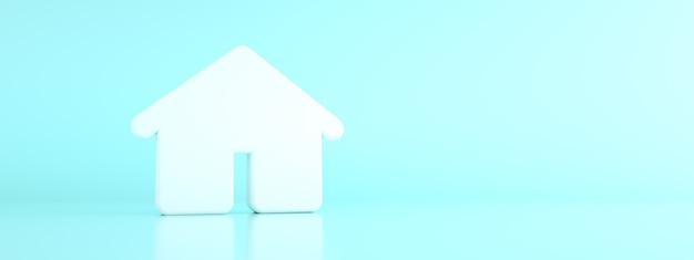 3d huis over blauwe 3d achtergrond, geef terug, panoramisch model