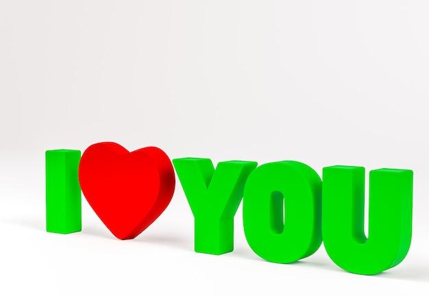 3d ik hou van jou bericht geïsoleerd op wit