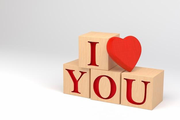 3d ik hou van jou houten kubussen geïsoleerd op wit