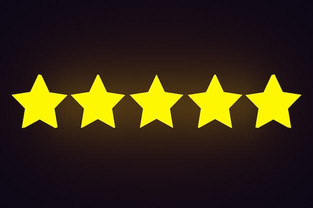 3d illustratie 5 gouden sterren staat op een rij op een zwarte geïsoleerde achtergrond.