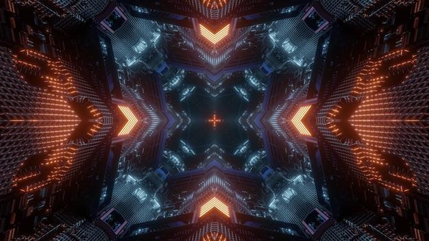 3d illustratie abstract ontwerp als achtergrond van virtuele ruimtetunnel met geometrisch patroon en gloeiende rode neonpijlen die richting tonen aan donker gat