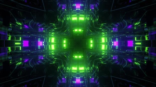 3d illustratie abstracte futuristische achtergrond perspectief bekijken door virtuele tunnel met heldergroene en paarse neonlichten weerspiegeld in spiegelglazen oppervlak