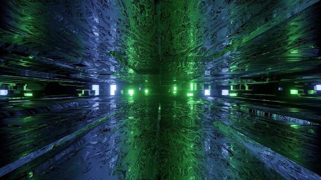 3d illustratie abstracte futuristische achtergrond van donkere virtuele gang met gloeiende blauwe en groene neonlichten