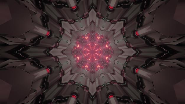 3d illustratie abstracte futuristische achtergrond van sci fi ruimteschip gang met grijs metallic geometrisch interieur en rode neon verlichting