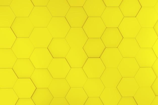 3d illustratie, abstracte zeshoek gele backgorund