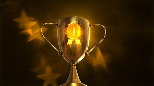 3d illustratie award, trophy geïsoleerd op een oranje achtergrond