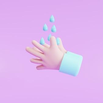 3d illustratie, bescherming. ontsmettingsmiddel, antiseptische, antibacteriële symbolen. gezondheidszorg handen wassen met spoelwater en zeep