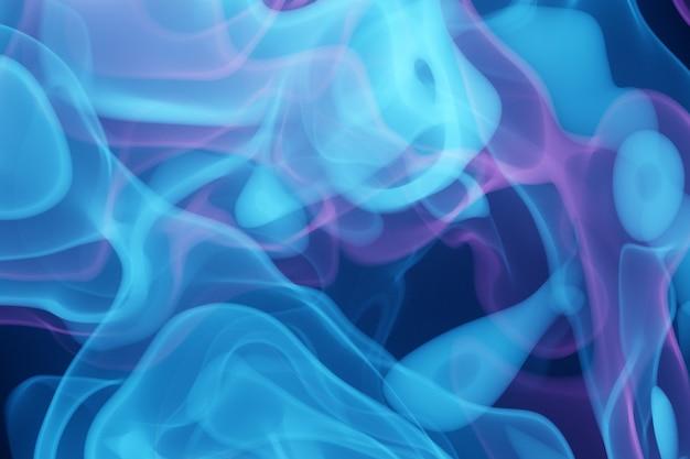 3d illustratie bevroren abstracte beweging van explosie rook meerdere kleuren blauw en roze op zwart-witte achtergrond.