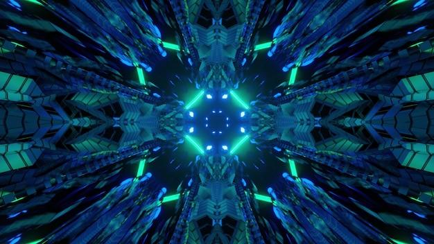 3d illustratie binnenkant van donkere gang van futuristisch gebouw met ongebruikelijke geometrische panelen als gevolg van blauwe en groene neonlichten