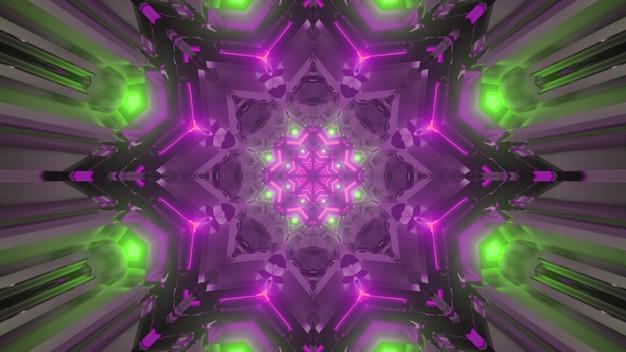 3d illustratie binnenkant van sci fi virtuele tunnel met stervormige gateway in groene en paarse neonlichten met reflecties als abstract futuristisch achtergrondontwerp