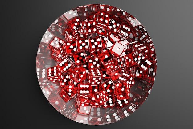 3d illustratie, close-up van een metalen plaat met rode dobbelstenen op een grijze achtergrond