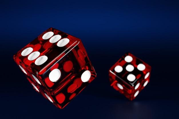3d illustratie close-up van een paar rode dobbelstenen over donkere achtergrond rode dobbelstenen