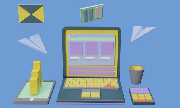 3d illustratie computer website witte donkerblauwe kleur