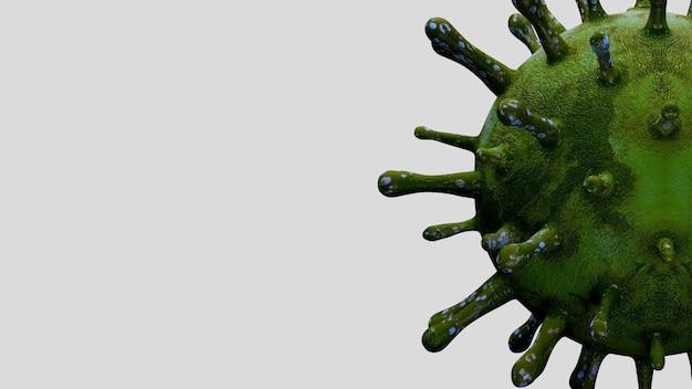 3d illustratie. coronavirus-uitbraak die het ademhalingssysteem infecteert. grieptype covid 19-virusachtergrond als gevaarlijke griep. pandemisch medisch gezondheidsrisicoconcept met ziektecellen.