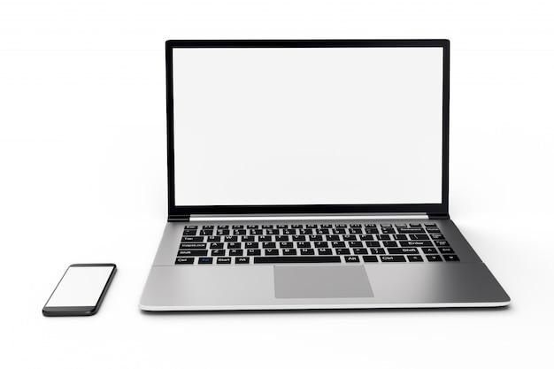 3d illustratie desktopcomputer lege mock up. glanzende laptopcomputer mock-up. moderne computer mock-up. perfect gedetailleerde smartphone mock up in de buurt van lege computer.