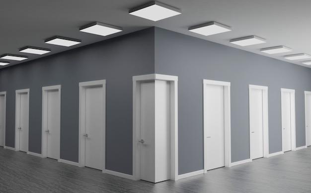 3d illustratie. deur in de hoek van de muur