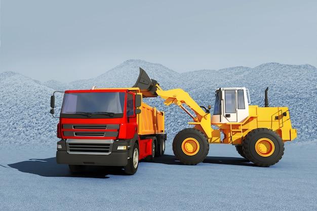 3d illustratie die van graafwerktuig grind op vrachtwagen laden