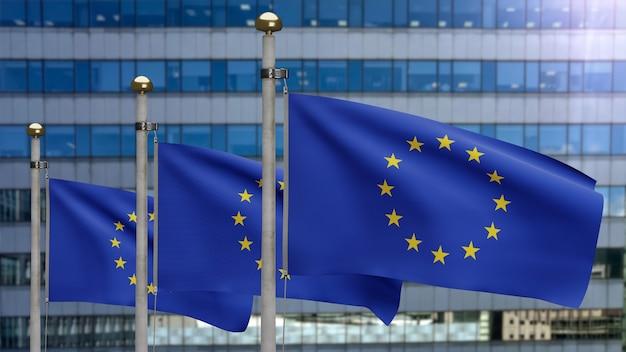 3d illustratie europese unie vlag zwaaien op moderne wolkenkrabber stad. mooie hoge toren en europa banner zachte gladde zijde. doek stof textuur vlag achtergrond. nationale dag en land concept.