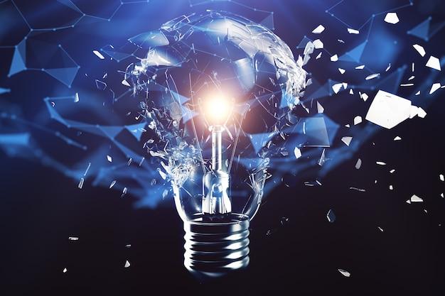 3d illustratie exploderende gloeilamp op een blauwe achtergrond, concept creatief denken en innovatieve oplossingen. netwerkverbindingslijnen en stippen. innovatief idee.