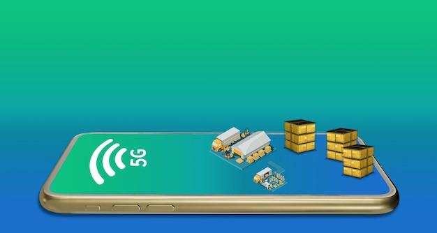 3d illustratie fabriekssysteemstructuur verbonden met een smartphone op 5g-netwerk, online draadloze verbinding, industrieel magazijn, internationale vracht en pallettruck.