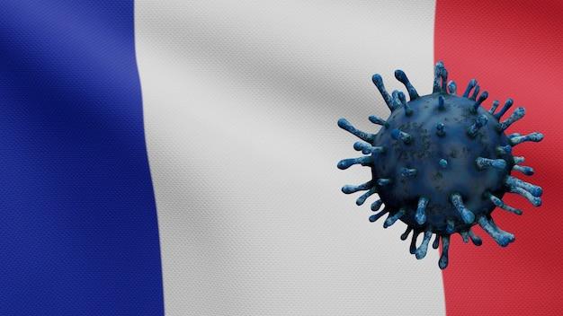3d illustratie franse vlag die zwaait met een uitbraak van het coronavirus die de luchtwegen infecteert als gevaarlijke griep. influenza type covid 19-virus met nationale vlag van frankrijk die achtergrond waait. pandemisch risico