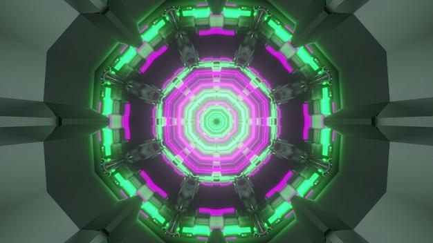 3d illustratie futuristische abstracte geometrische achtergrond van veelhoekige virtuele ruimte gang met heldere kleurrijke neonverlichting