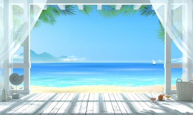 3d illustratie. gazebo op een tropisch strand met uitzicht op de oceaan