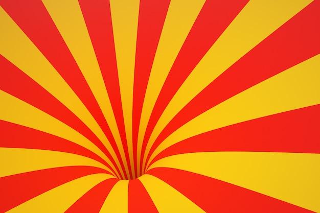 3d illustratie geel-rode trechter. gestreepte kleurrijke abstracte achtergrond.