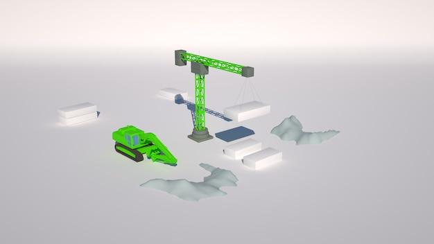 3d illustratie, graafmachine op een bouwplaats.