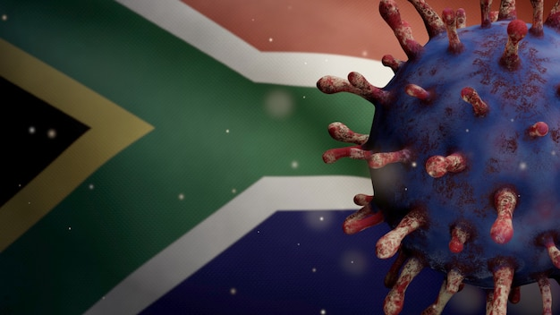 3d illustratie griep coronavirus zwevend over de afrikaanse rsa-vlag. zuid-afrika banner zwaaien met pandemie van covid19 virusinfectie concept. vlag van echte stoftextuur
