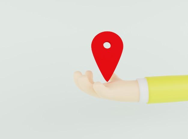 3d illustratie hand met rood locatiepictogram op lichtgroene achtergrond